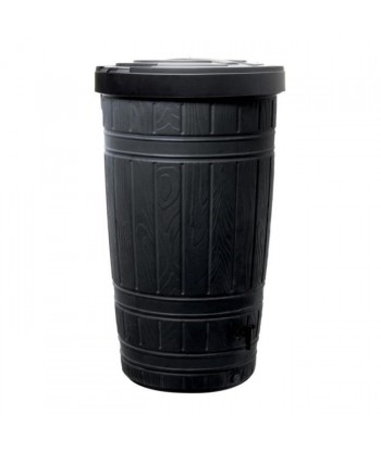Duży ozdobny zbiornik na wodę deszczową PROSPERPLAST Woodcan IDWO265-S411 265 L – czarny