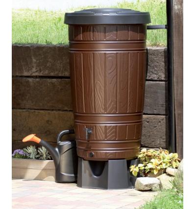 Duży ozdobny zbiornik na wodę deszczową Woodcan IDWO265 PROSPERPLAST 265 L – brązowy