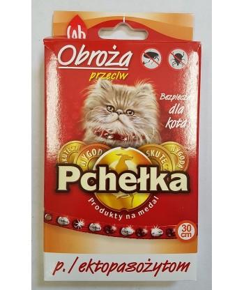 Obroża przeciw ektopasożytom ozdobna dla kota PCHEŁKA 30cm LAB