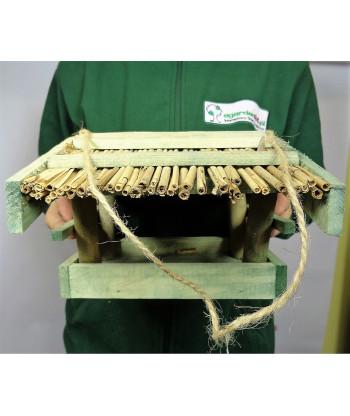 Karmnik dla ptaków kryty słomą mały zielony nr 46 BRAPTA