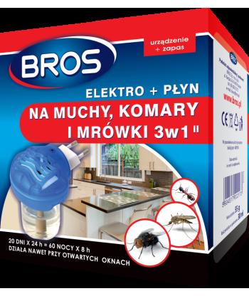 Elektrofumigator + płyn na komary, muchy i mrówki 3w1 BROS
