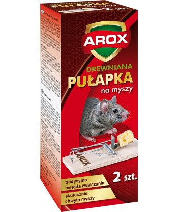Łapka na myszy drewniana 2 szt AROX