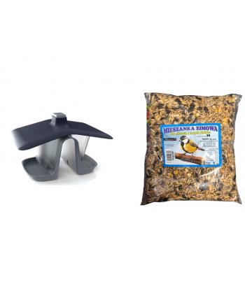 Karmnik dwukomorowy + mieszanka ziarno dla ptaków 1kg