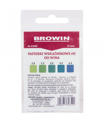 Papierki (lakmusowe) wskaźnikowe pH do wina BIOWIN