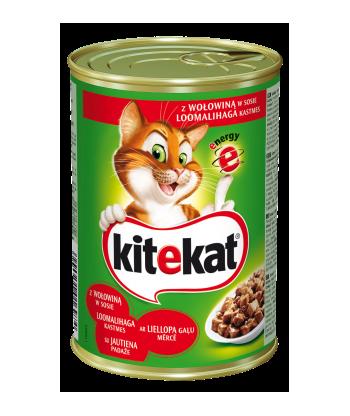 Karma dla kota puszka z wołowiną 400g Kitekat