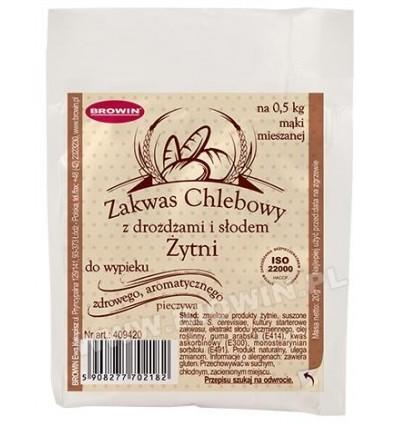 Zakwas chlebowy żytni z drożdżami i słodem 20g BIOWIN