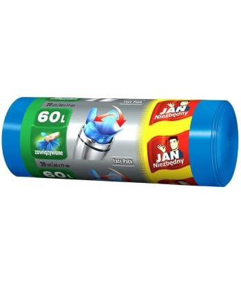 Worki na śmieci EASY PACK niebieskie 60L 20 szt. JAN NIEZBĘDNY