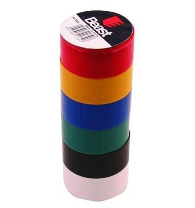 Taśma izolacyjna kolorowa 19mmx2.5m 6 sztuk BEAST