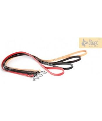 Smycz dla psa skórzana nitowana pojedyncza czerwona 10029 DINGO