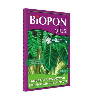 BIOPON PLUS tabletki nawozowe z witaminą do roślin zielonych 20szt..